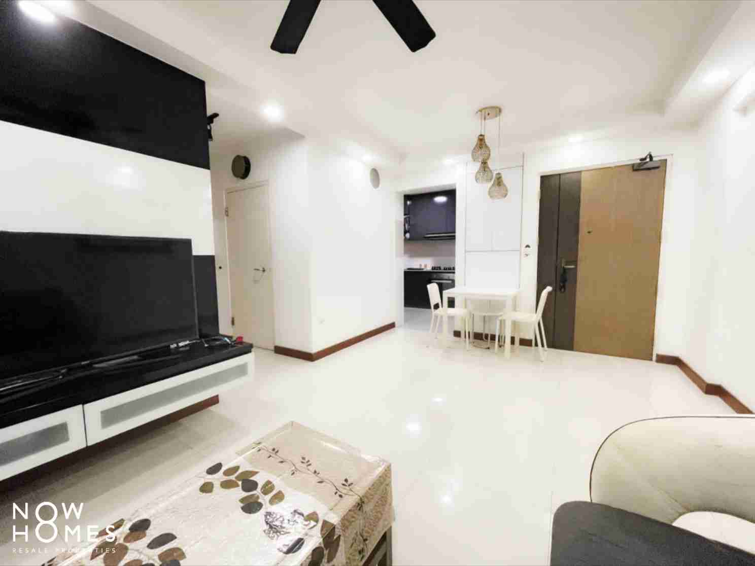 punggol resale property - 215a - White Living Room Kitchenview without fan